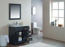 "Cambridge 36"" Bathroom Vanity Satin Grey With Stone Top"