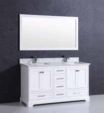 "Orlando 60"" White Double Sink Bathroom Vanity"