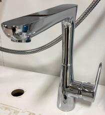 Gem long single hole lavatory faucet Brushed Nickel