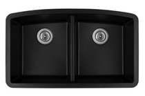 "Karran Double Equal Bowl Undermount Kitchen Sink Black Finish 32-1/2"" x 19-1/2"" QU-710"
