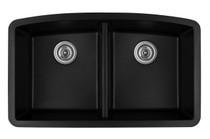 "Karran Double Equal Bowl Undermount Kitchen Sink Black Finish 32-1/2"" x 19-1/2"" QU-710"