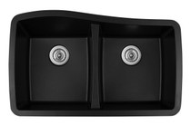 "Karran Double Equal Bowl Undermount Kitchen Sink Black Finish 33-1/2"" x 20-1/2"""
