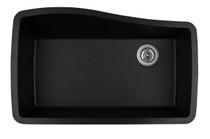 "Karran Extra Large Single Bowl Undermount Kitchen Sink Black Finish 33-1/2"" x 21"""