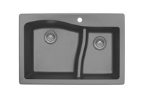 "Karran Double Bowl Top Mount Kitchen Sink Grey Finish 33"" x 22""  QT-630"