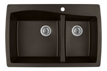 "Karran Double Bowl Top Mount Kitchen Sink Brown Finish 34"" x 22"""
