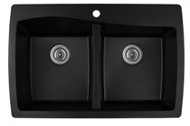 "Karran Double Bowl Top Mount Kitchen Sink Black Finish 34""x 22"""