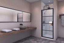 Zitta Materia Alcove 1 Shower Door Black 36""