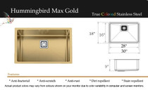 "Castle Bay Hummingbird Max Plus (30"" x 18"" x 9"") Kitchen Sink Gold Finish"
