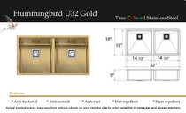 "Castle Bay Hummingbird Premium Series 32"" x 18"" x 9"" Gold Finish"