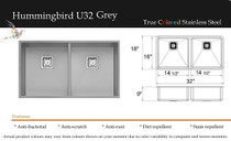 "Castle Bay Hummingbird Premium Series 32"" x 18"" x 9"" Grey Finish"