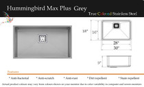 "Castle Bay Hummingbird Max Plus 30"" x 18"" x 9"" Kitchen Sink Grey Finish"