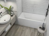 "Mirolin Alora Bath Tub Square Soaker Left Hand 60"" x 30"" x 20"""
