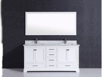 "Orlando 60"" White Double Sink Bathroom Vanity Grey"