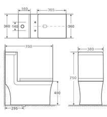 Crown Ultimate Dual  Flush Toilet One Pc