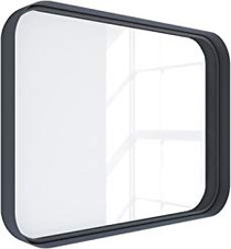 "Kende 32"" x 24"" Squared Metal Framed Mirror Black"