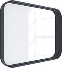 "Kende 32"" x 24"" Squared Metal Framed Mirror Black"