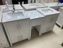 "Rama 66"" Bathroom Vanity White With Make up middle cabinet"