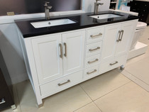 "Aurora 60"" White Double Sink Bathroom Vanity Black Marble"