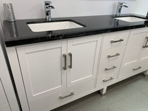 "Aurora 72"" Bathroom Vanity White With Black Marble Top"