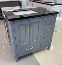 "Aurora 36"" Bathroom Vanity Grey With Black Marble"