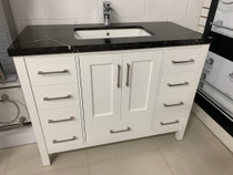 "Aurora 48"" Bathroom Vanity White with black top"