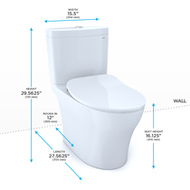 TOTO Aquia® IV 1G Toilet - 1.0 GPF & 0.8 GPF, Elongated Bowl - WASHLET+ Connection - Slim Seat