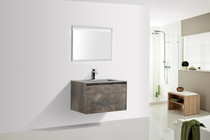 "Slim 24"" Modern  Wall Mount Bathroom Vanity Metalic Grey With Matching LED MIRROR"