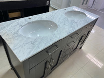 "60"" x 22"" D Double Sink Marble Counter Top"