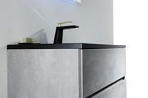 "Modern Edison 32"" Wall Mount Bathroom Vanity Grey with Black Top"