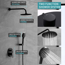 """Matte Black 2 way Shower System-Wall Mounted Shower Faucet Set for Bathroom with 9"""" Rain Shower head and 5-Setting Handheld Shower Head Set-Shower Combo Set with Shower Valve Included"""