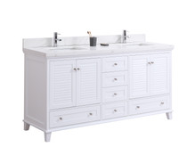 "Woodbridge 60"" Double Sink Bathroom Vanity White"