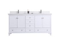 "Woodbridge 72"" Double Sink Bathroom Vanity White"