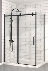 "Zitta Bellini Alcove Black Shower Door 60"" x 36"" with Base"