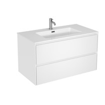 "Rubi Aria 35"" Washbasin Cabinet, Two Drawers Matte White"