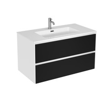 "Rubi Aria 35"" Washbasin Cabinet, Two Cabinets Matte Black"