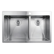 Rubi Muscat Drop-In Double Bowl Kitchen Sink with Rounded Corners