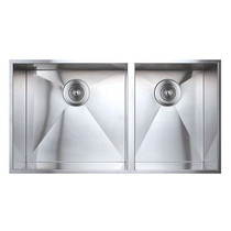 """Rubi Cabernet Undermount Double Bowl Kitchen Sink with Square Corners 31 1/2"""" x 17"""" x 8 5/8"""""""