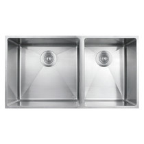 """Rubi Merlot Undermount Double Bowl Kitchen Sink with Rounded Corners 31 1/2"""" x 17"""" x 8 5/8"""""""