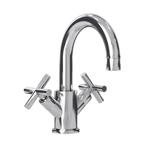 Rubi Alex Washbasin Faucet with Cross Handles with Drain Chrome