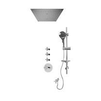 "Rubi Alex 3/4"" Thermostatic Shower Kit with Round Sliding Bar with Hand Shower, Built-in Shower Head, Stop Valve with Water Outlet Chrome"