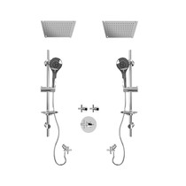 "Rubi Alex 3/4"" Thermostatic Shower Kit with Standard Stop Valve, Double Round Sliding Bars with Hand Shower, Double Built-in Shower Head, and Stop Valve with Water Outlet Chrome"