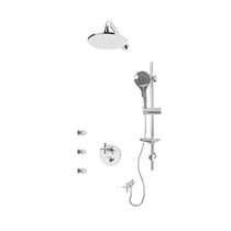 """Rubi Billie 1/2"""" Thermostatic Shower Kit with Round Sliding Bar with Hand Shower, 8"""" Round Shower Head, Horizontal Shower Arm, Stop Valve with Water Outlet, and Body Jets Chrome"""