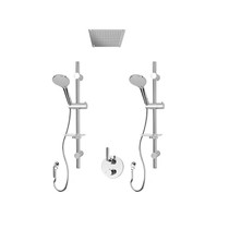 """Rubi Billie 1/2"""" Thermostatic Shower Kit with Double Round Sliding Bar with Hand Shower, Built-in Shower Head, Round Elbow Connector with Water Outlet, and Sop Valve with Water Outlet Chrome"""