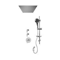 "Rubi Billie 3/4"" Thermostatic Shower Kit with Standard Stop Valve, Round Sliding Bar with Hand Shower, Built-in Shower Head, and Stop Valve with Water Outlet Chrome"