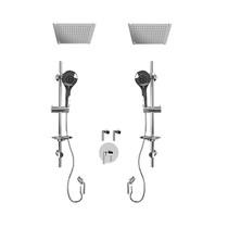 "Rubi Billie 3/4"" Thermostatic Shower Kit with Standard Stop Valve, Double Round Sliding Bar with Hand Shower, Double Built-in Shower Head, and Stop Valve with Water Outlet Chrome"