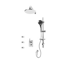 """Rubi Evita 1/2"""" Thermostatic Shower Kit with Round Sliding Bar with Hand Shower, 8"""" Round Shower Head, Horizontal Shower Arm, Stop Valve with Water Outlet, and Body Jets Chrome"""