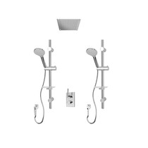 """Rubi Evita 1/2"""" Thermostatic Shower Kit with Double Round Sliding Bar with Hand Shower, Built-in Shower Head, Round Elbow Connector with Water Outlet, and Stop Valve with Water Outlet Chrome"""