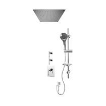 "Rubi Evita 3/4"" Thermostatic Shower Kit with Standard Stop Valve, Round Sliding Bar with Hand Shower, Built-in Shower Head, and Stop Valve with Water Outlet Chrome"