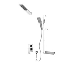 Rubi Fall Pressure Balanced Shower Kit with Square Sliding Bar with Hand Shower, Wall Mounted Solid Brass Shower Head Chrome