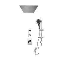 """Rubi Gabriella 3/4"""" Thermostatic Shower Kit with Standard Stop Valve, Round Sliding Bar with Hand Shower, Built-in Shower Head, and Stop Valve with Water Outlet Chrome"""